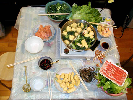 Chinese Hot Pot sample ingredients: beef strips, tofu, lettuce,chicken,shrimp,cuttlefish