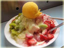 Shaved ice with fruit toppings